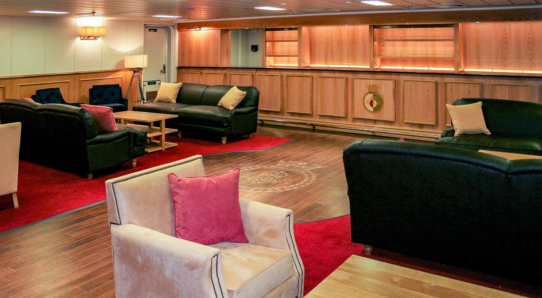 Lounge area of HMS Queen Elizabeth ship